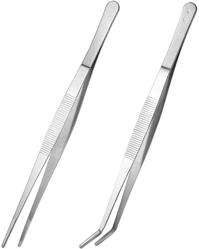 2 pinzas rectas y curvadas de acero inoxidable